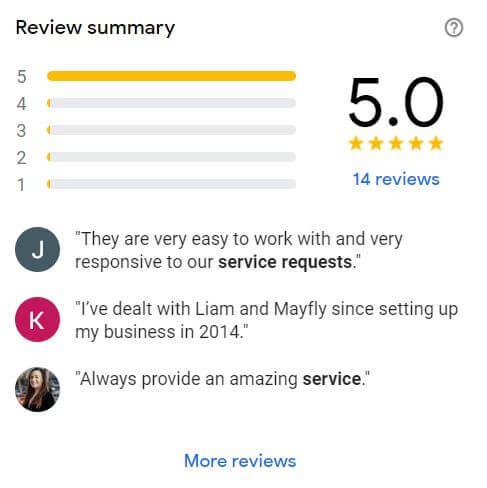 5 Star Reviews for Mayfly Internet Marketing