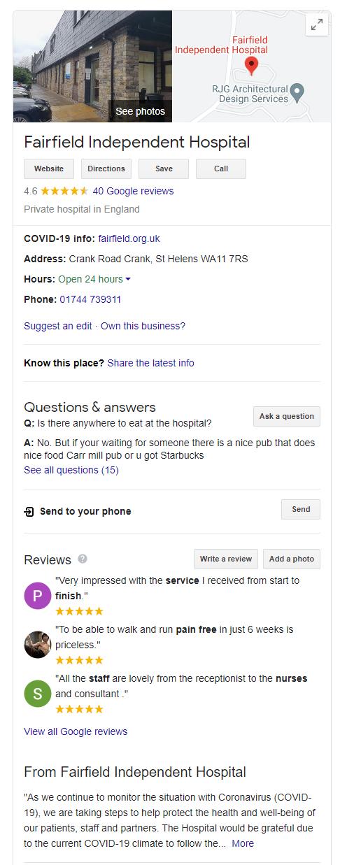 Optimised Google My Business listing.