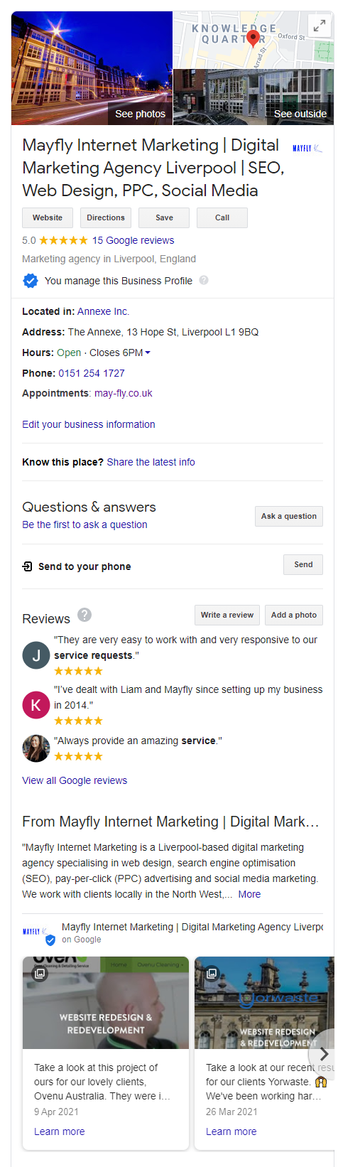 Google My Business listing featuring Google Posts.