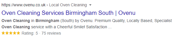 Review schema featured in a Google search result.